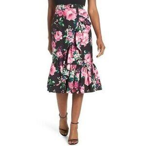NWT Eliza J Floral Ruffle Pencil Midi Skirt Sz 12